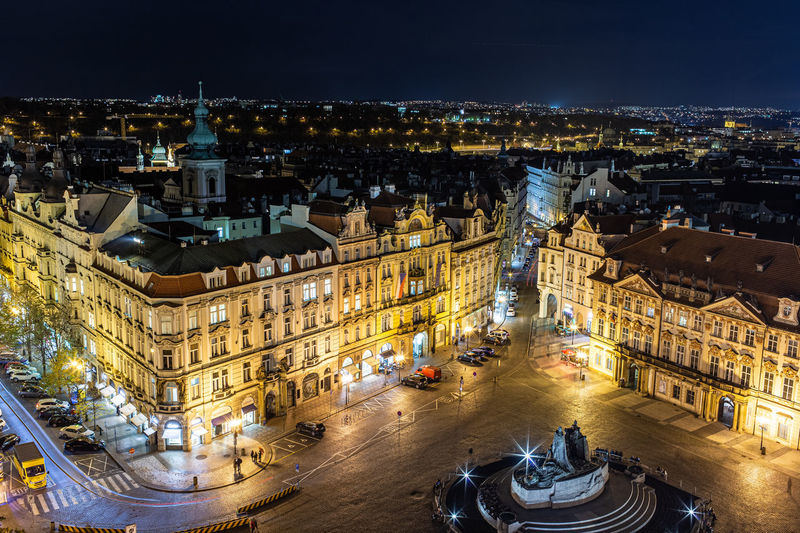 High angle view of old town sqare in prague at night