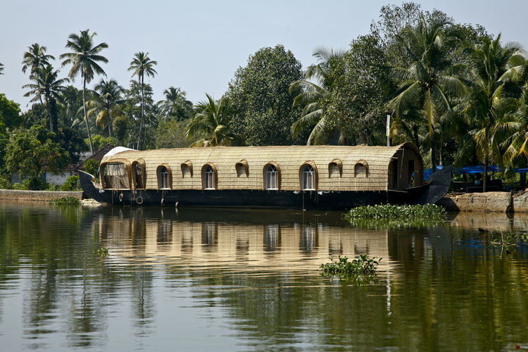 Aleppey Kerala, backwater homeboat Alleppey Coconut Trees India Kovalam Beaches Malabar Coast Varkala Beach Aleppey Backwaters Beaches House Boat Kerala Palms Sea Temple Tree Water Plant Reflection Waterfront Sky Palm Tree Nature Tropical Climate Lake Day Built Structure Architecture Growth Green Color Tranquility Incidental People Outdoors Beauty In Nature