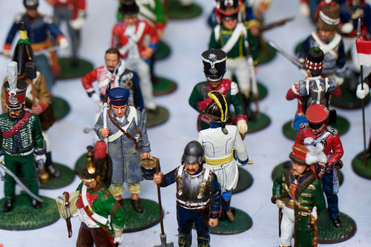 Close-Up Of Army Soldier Figurines On Table