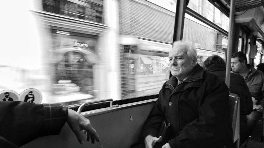 Train - Vehicle Transportation Public Transportation Mode Of Transport Subway Train Adults Only Real People Adult One Person People Railroad Station Rail Transportation Men Only Men Passenger Lifestyles Mature Adult Warm Clothing City Life One Man Only Vienna Streetphoto_bw Vienna Black And White Blackandwhite Street Portrait