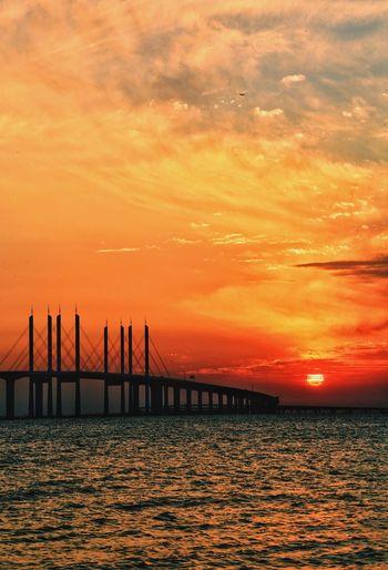 青岛胶州湾跨海大桥落日 Sunset Sky Sea