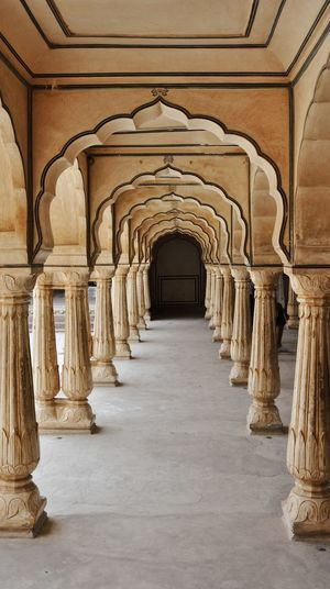 India Arcade Arch Architectural Column Architecture Building Built Structure Ceiling Colonnade Corridor Diminishing Perspective Direction Empty Fort History In A Row Incredible India Indoors  Mughal No People Rajasthan The Past The Way Forward Travel Travel Destinations
