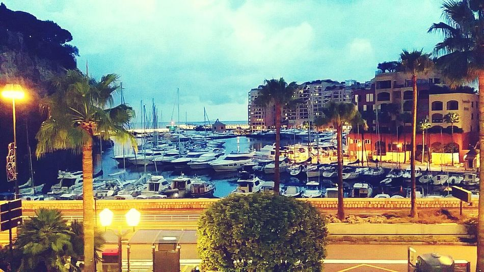 Outdoors Sky City No People Beach Water Sea Nightlife Night City Blue Monaco Colors Monaco Palmiers 🌴👣 Light