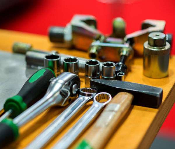 Various tools on table