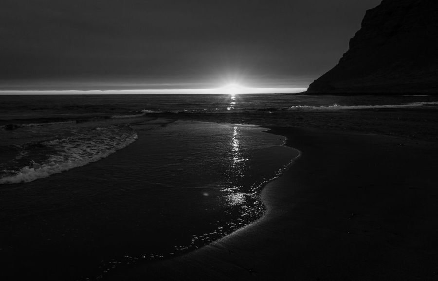 Midnight Sun Beauty In Nature Bnw_friday_eyeemchallenge Bnw_sunset Nature No People Outdoors Scenics Tranquility Water