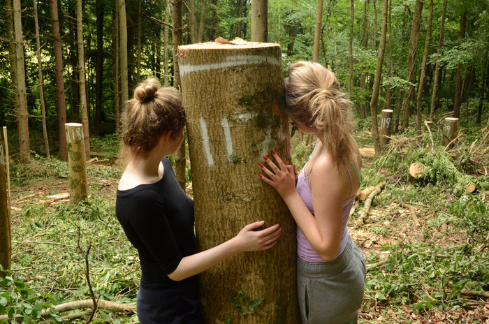 Camera Shy Deforestation Environmentalists Forest Friendship Logging Outdoors Togetherness Tree Tree Huggers Two People Young Women
