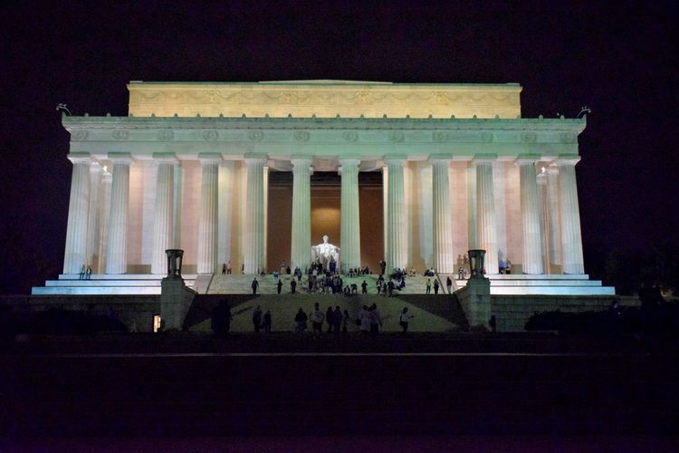 Lincoln Memorial at night Architectural Column Architecture Building Exterior Built Structure Famous Place Memorial Monument Night Statue