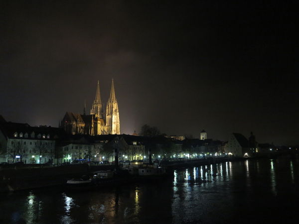 old town, Regensburg Architecture Building Exterior Built Structure City Illuminated Night No People Outdoors Place Of Worship Religion Sky Spirituality Water