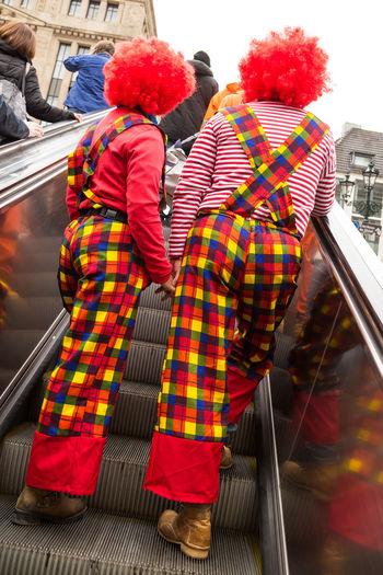 Karneval, Duesseldorf, Germany Clowns Colors Of Carnival Deutschland Duesseldorf Düsseldorf Fasching Germany Helau Karneval NRW Rolltreppe Steps Two Is Better Than One Carnival Crowds And Details