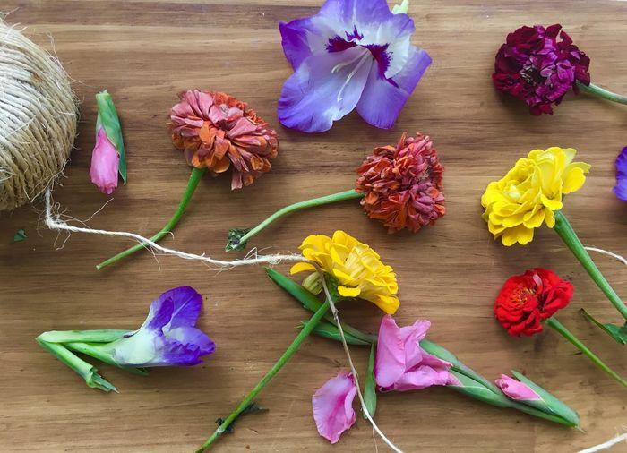 Cut flowers on