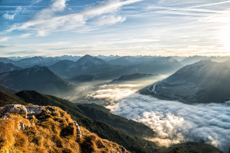 Fog in the valley Scenics - Nature Mountain Beauty In Nature Sky Cloud - Sky Tranquil Scene Mountain Range Tranquility Non-urban Scene Environment Nature No People Idyllic Landscape Remote Day Outdoors Majestic Sunlight Mountain Peak Fog Light And Shadow Snowcapped Mountain Autumn Tyrol Alps Austria