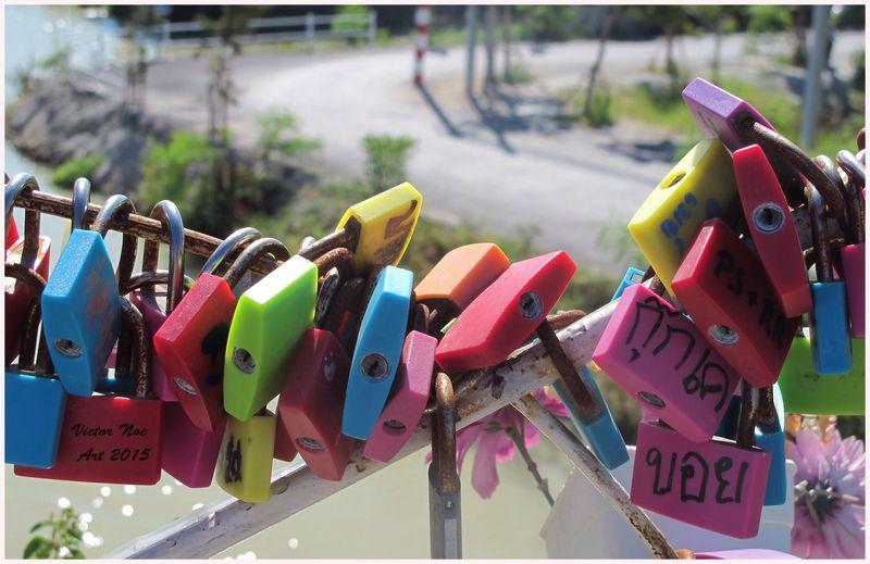 Close-up of colorful padlocks on railing