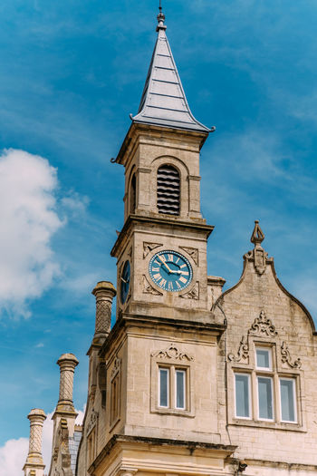 Architecture Low Angle View Blue Clock Tower Day Outdoors Sky
