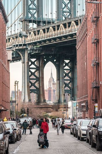 Manhattan Bridge DUMBO, Brooklyn DUMBO NYC Photography NYC Street Photography NYC Street Street Streetphotography Empire State Building Architecture Group Of People Transportation Built Structure City Large Group Of People Crowd Travel Destinations Mode Of Transportation Outdoors