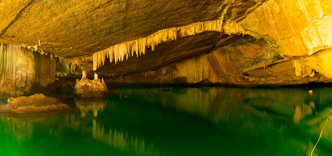 Scenic view of lake in cave