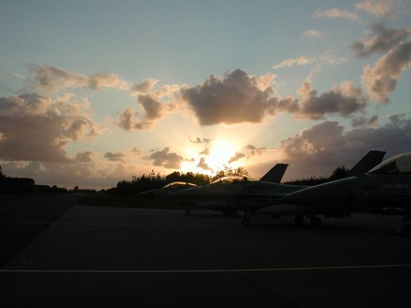 Airplane Airport Air Vehicle Sunset Plane No People Airport Runway Sky Cloud - Sky Airforce Sunlight Sunrise Sunshine Sunbeam Sunset Silhouettes Sunset_collection Sunny F16fightingfalcon F16 Aircraft F16 Silhouette F16