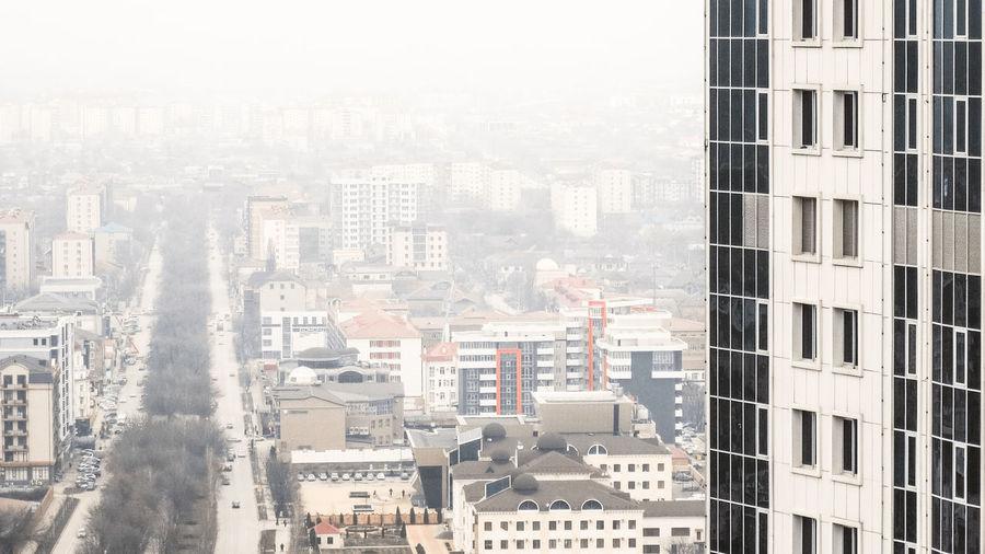 Grozny Fog Grozny Chechnya Caucasian Russia Buildings Travel City Cityscape Skyscraper Architecture