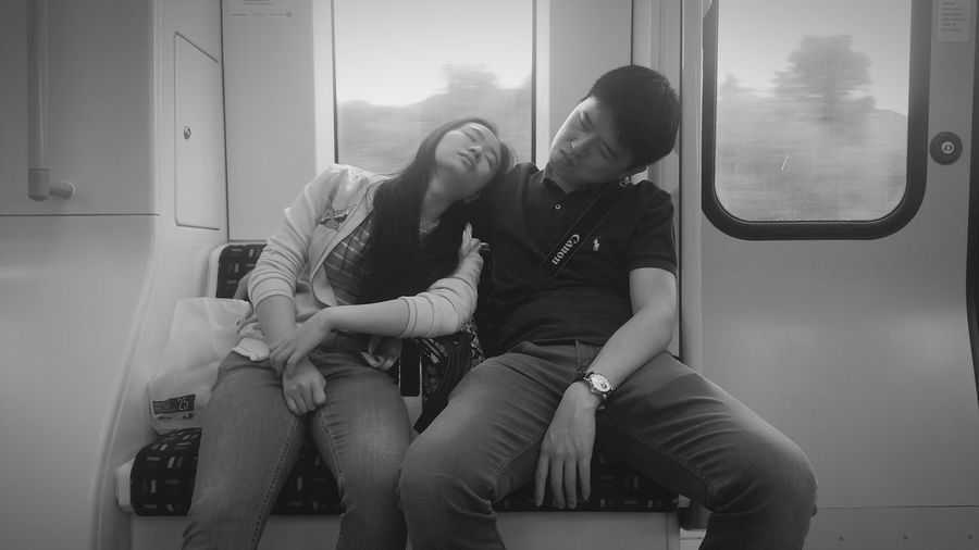 What Who Where Two Is Better Than One On The Way Public Transportation People Together Sleeping Commuting Sleeping On The Train On The Underground Transit Photography Going Underground Chance Encounters The Portraitist - 2017 EyeEm Awards