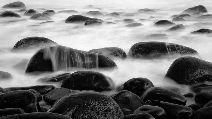 Beauty In Nature Blackandwhite Boulders Coast Long Exposure Mono Monochrome Rock Sea Seascape The KIOMI Collection Water
