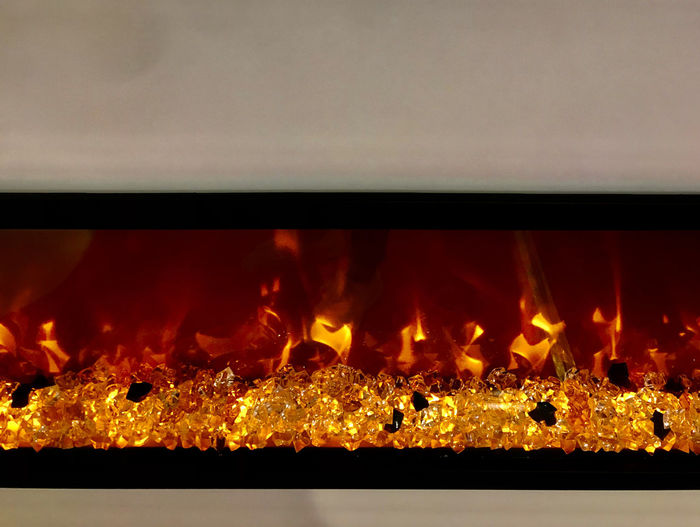 Close-up of fire on display at night