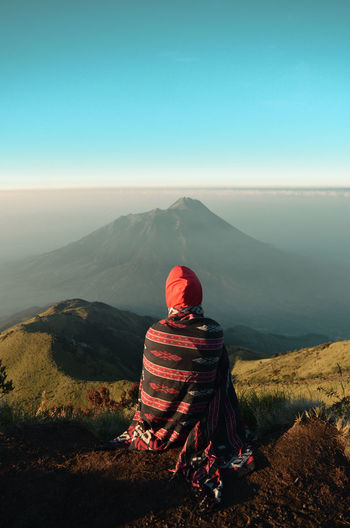 Enjoy the morning from the peak of mount merbabu, central java