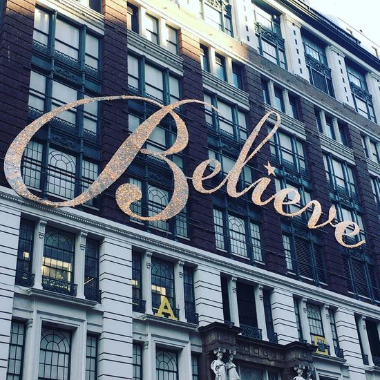 Believe Macys Xmas Windows Macy's Macys New York City Building Exterior Built Structure Architecture Text City Outdoors Window Communication No People Day Low Angle View nyc Travel Photography NYC LIFE ♥ NYC Photography Illuminated NYC Street New York Travel Photos