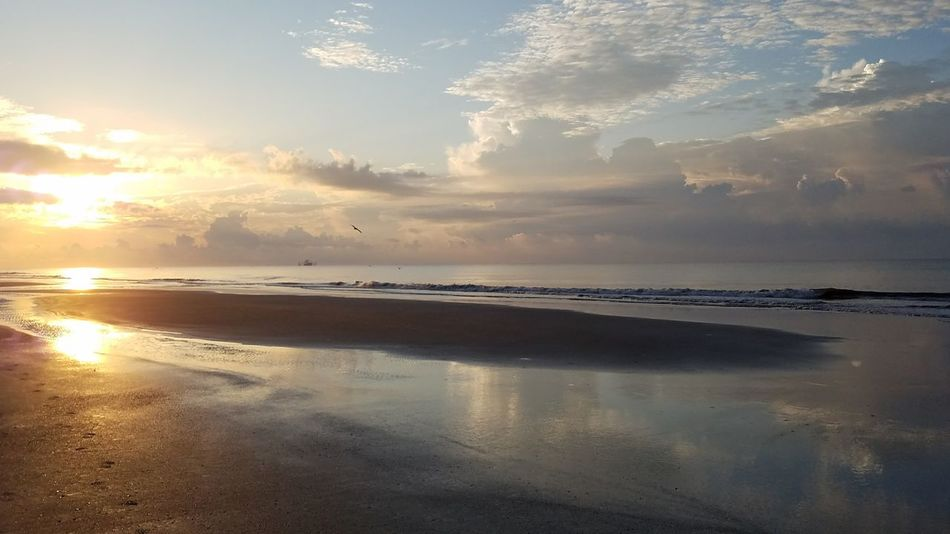 Shrimp Boat Hilton Head Island, SC Beach Reflection Landscape Scenics Sunrise Dramatic Sky Sunlight Sky Sun Sea Sand Surf NoEditNoFilter Morning Serenity Ocean Cloud - Sky Backgrounds SC Tidal Pool Beautiful Footprints Birds