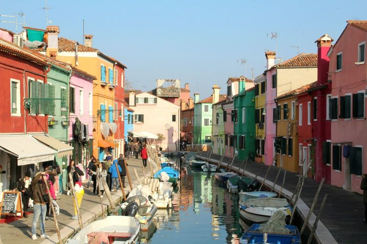 Gondola - Traditional Boat Large Group Of People Architecture People City Building Exterior Day Outdoors Sky Adult Cityscape Burano, Venice Burano, Italy Burano Colored Houses Burano Island Burano Colorful Colors Colorful