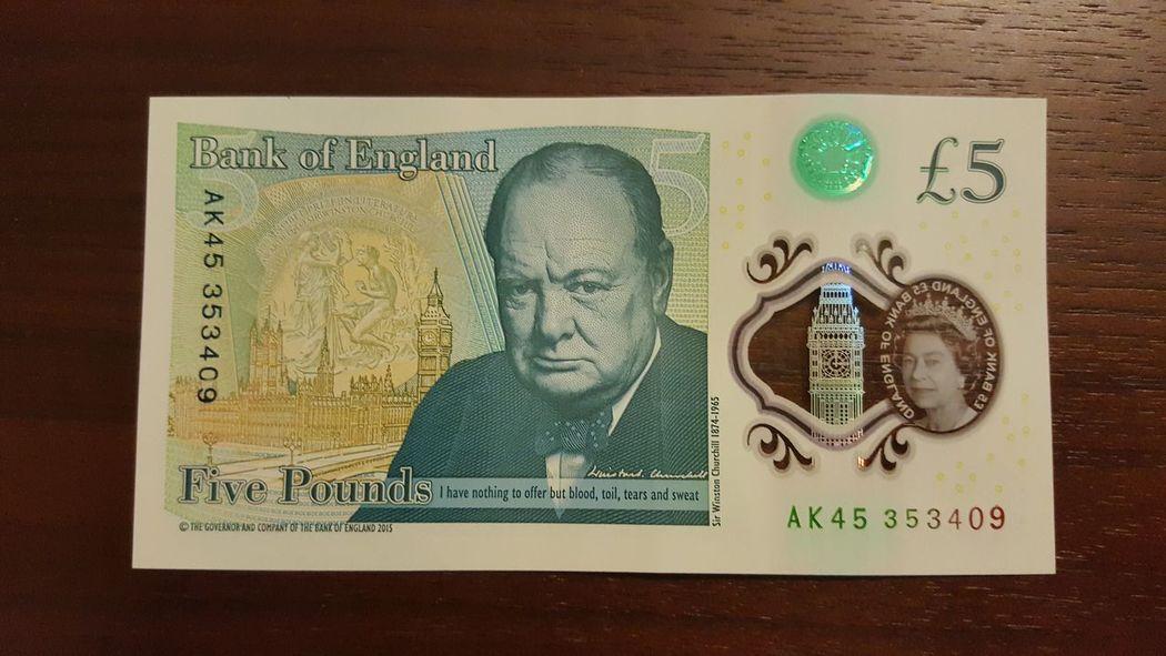 Human Face Human Representation Western Script Text Close-up Creativity Pounds Money Plastic 5 Pounds Banknote Plastic Banknotes Sterling Pound No People Back