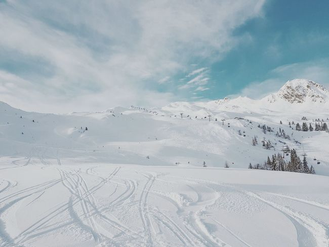 Pulver am Morgen Skiing Ski Powder Fluffy Snow Scenics Beauty In Nature Nature Cold Temperature Tranquility Landscape Winter Outdoors Mountain Sky