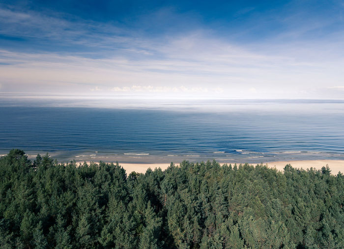 A sea shore beyond a line of forest. Aerial shot from above a forest. Beach Beauty In Nature Day Horizon Over Water Idyllic Landscape Nature No People Outdoors Scenics Sea Sky Tranquil Scene Tranquility Tree Water