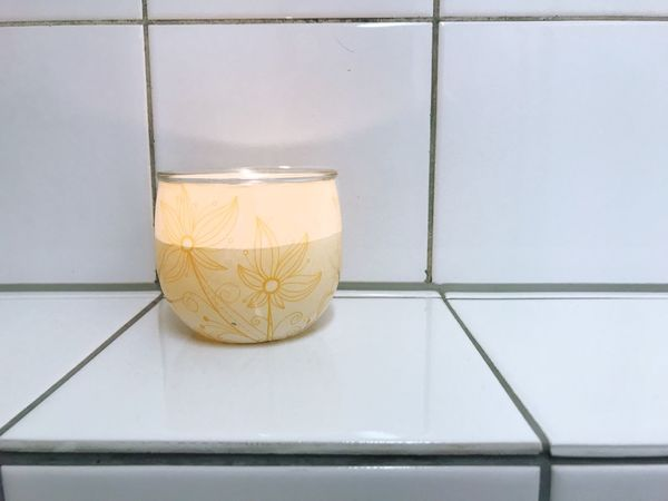 Candle Candlelight Tea Light Bathroom Hygiene Candle Light Indoors  Close-up Tiles