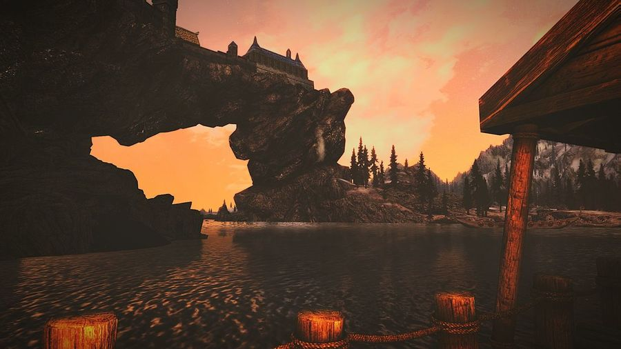 Landscape Sunset Night Reflection Rock - Object Outdoors Red Mountain Beauty In Nature No PeopleEyeEmNewHere Architecture Water Travel Destinations Sky Roleplay XboxOne Skyrim Gaming