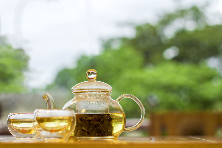Close-up of tea against tree