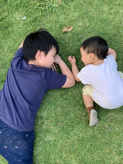 High angle view of boys on grassy field