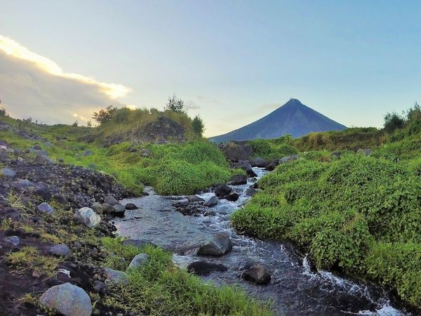 mayon volcano and stream Adventure Beauty In Nature Flowing Water Landscape Nature Photography Outdoor Photography Stream Volcano Landscape Volcanoes Live For The Story