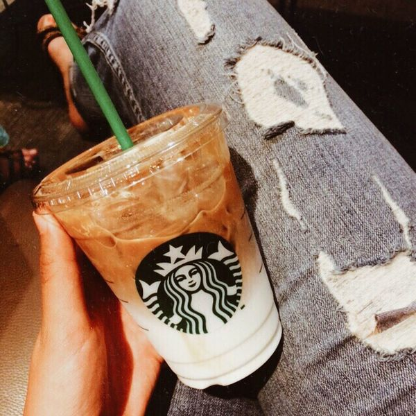 """Coffee should be black as hell, strong as death and sweet as love"" -Turkish proverb. Coffee Starbucks Caramelmacchiato Proverb Quote Blog Blogger Fashionblogger Ripped Jeans Style"