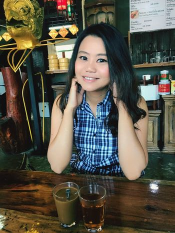 Looking At Camera Smiling Portrait Real People Waist Up Food And Drink Drink Restaurant One Person Front View Indoors  Happiness Lifestyles Young Adult Alcohol Young Women Day Freshness Adult People