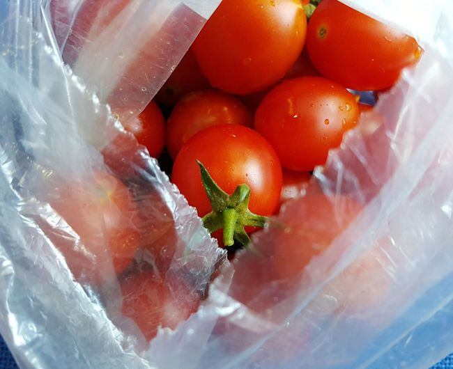cherry tomatoes Nylon Plastic Bag Tomato Cherry Tomato Supermarket Red Close-up Food And Drink
