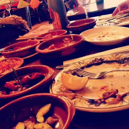 Food Porn Awards What was left of our tapas Tapas Patatas Bravas Taste Of Spain Chorizo Where's The Sangria