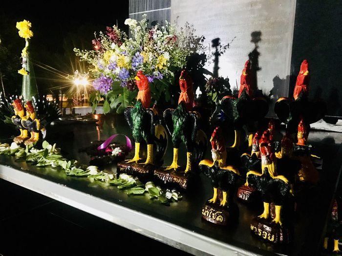 Chicken Doll Reflection Nigth  Light And Shadow Seramic ASIA Thailand รูปปั้น Chicken Doll Dolls Illuminated Plant Night Nature No People Flower Multi Colored Built Structure