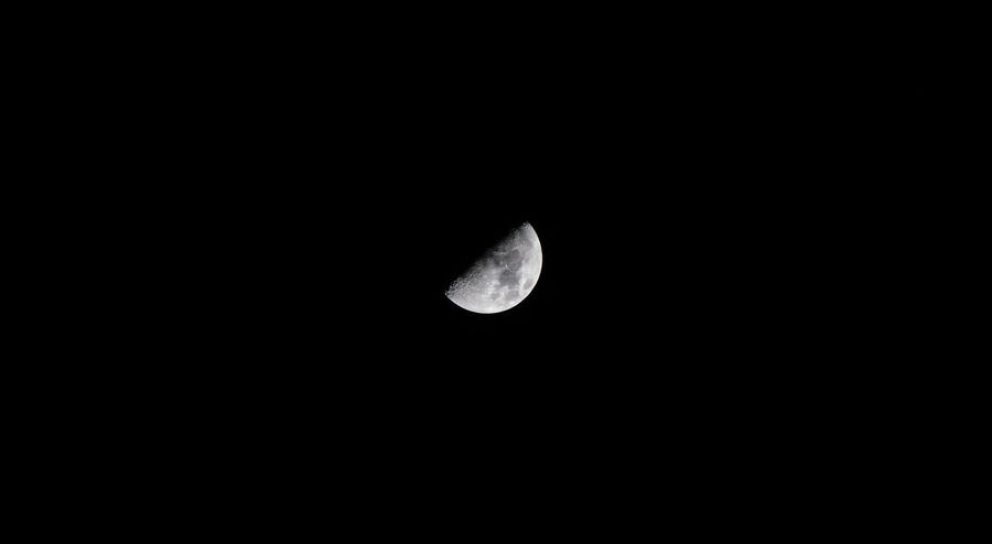 Astronomy Beauty In Nature Clear Sky Copy Space Crescent Half Moon Moon Moon Surface Nature Night No People Outdoors Planetary Moon Scenics Sky Space Space Exploration Tranquility