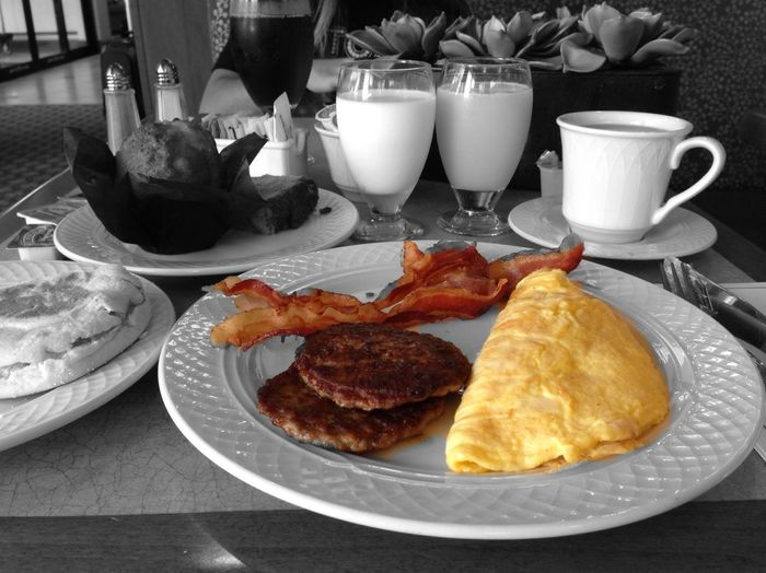 Consistently; as I am, having my #Omelette! With ham & cheese please… Omelette Bacon