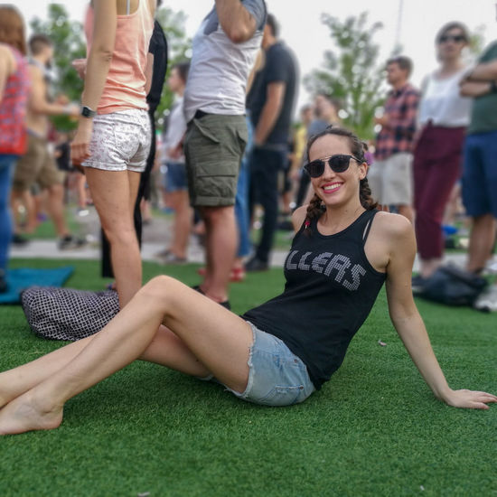Grass Young Women Portrait Entertainment Event Togetherness Smiling Friendship Cheerful Women Cool Attitude Fashion Festival Goer Music Concert Pop Music Concert Popular Music Concert Music Festival Live Event