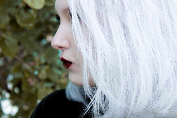 Close-Up Of Beautiful Woman With Dyed Hair