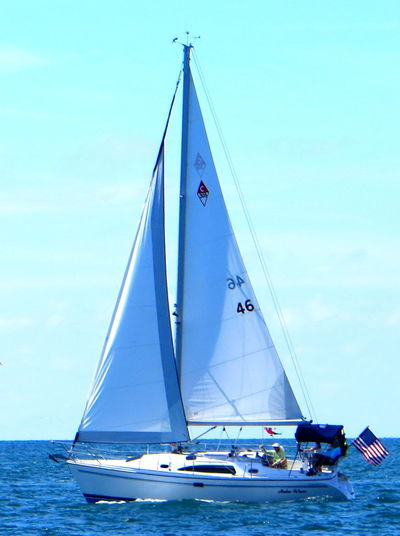 Beautiful Day Blue Skys Journey Mast Nautical Vessel Sail Away On The Sail Boat! Sailboat Sailing Sea Water Blue Wave