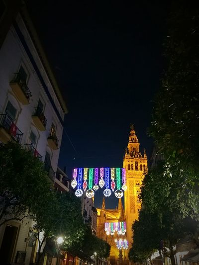 Sevilla Giralda Giralda Cathedral Illuminated Navidad Giraldillo Mateos Gago Lighting Equipment Night Luminosity