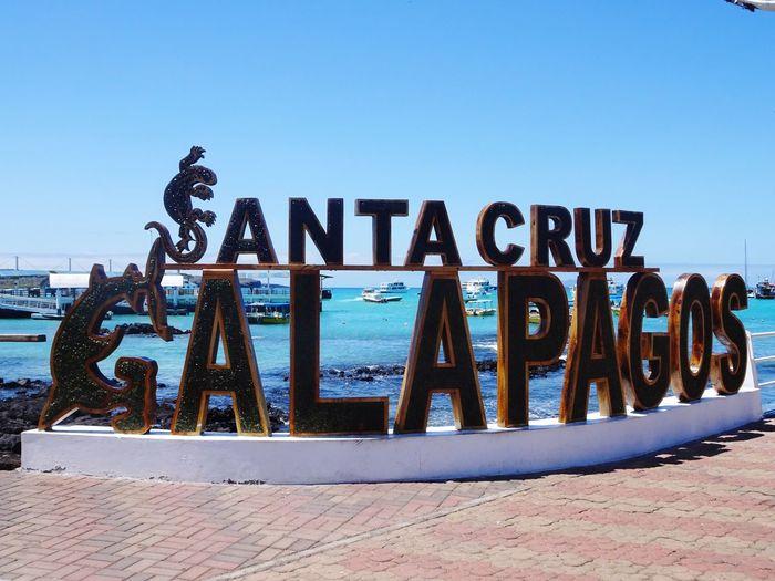 Galapagos Santa Cruz Galapagos Clear Sky Text Sky Western Script Day Nature Sunlight Water Sea