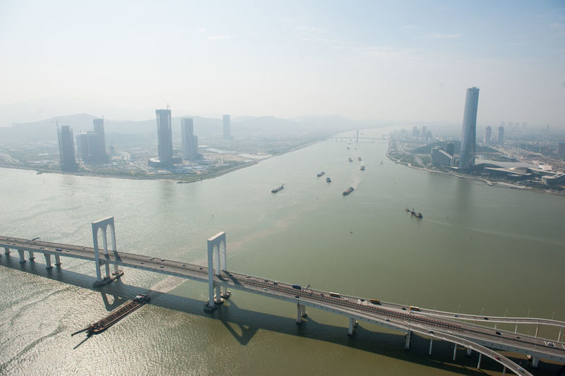 Bird View Boat Bridge High Angle View Macau Macau Bridge Sea Water
