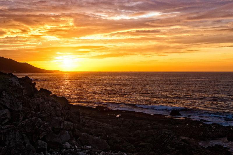 Sunset Baiona Sunset Sea Beauty In Nature Scenics Sun Orange Color Beach